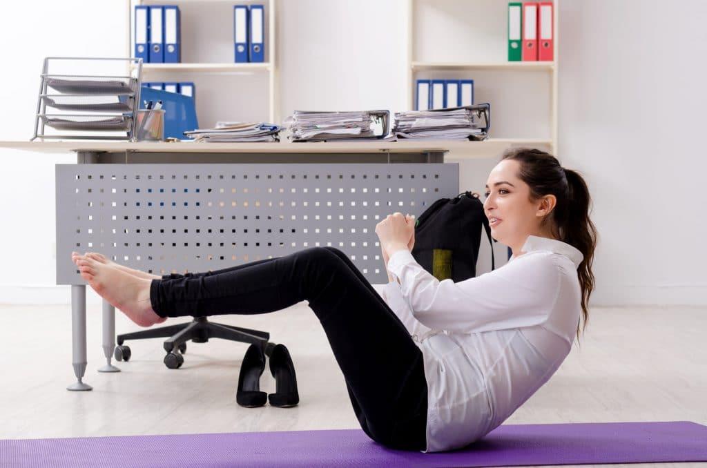 office yoga women streching