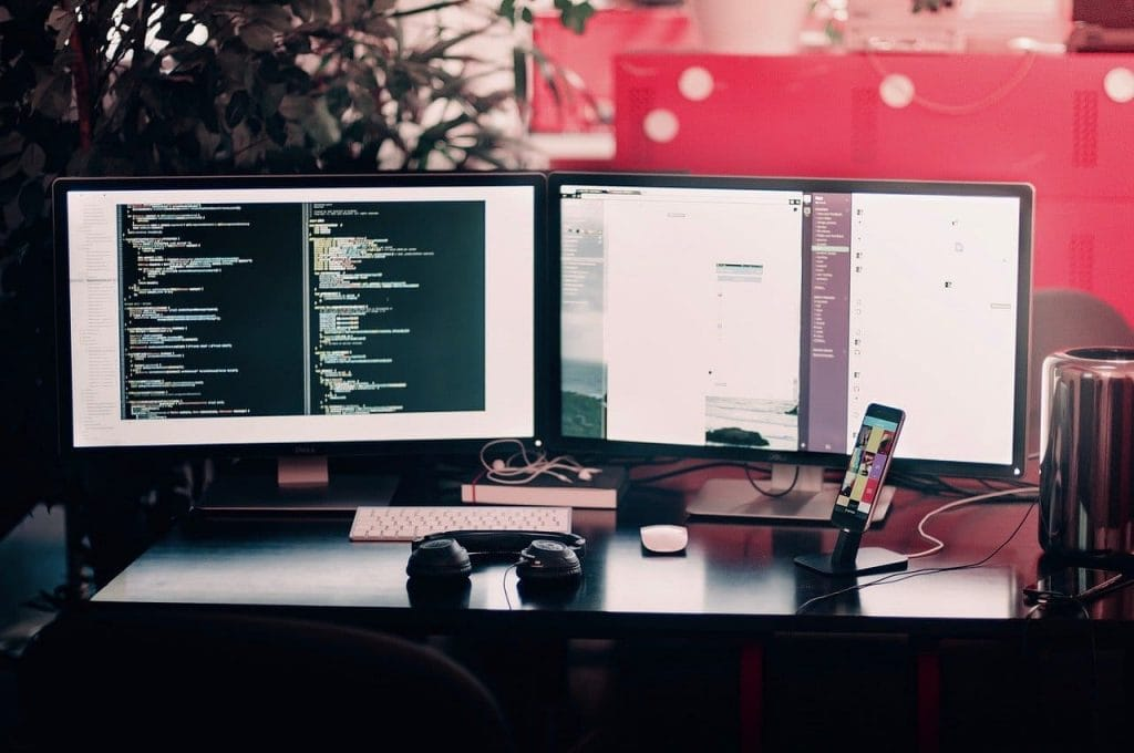 dest dual monitor desk