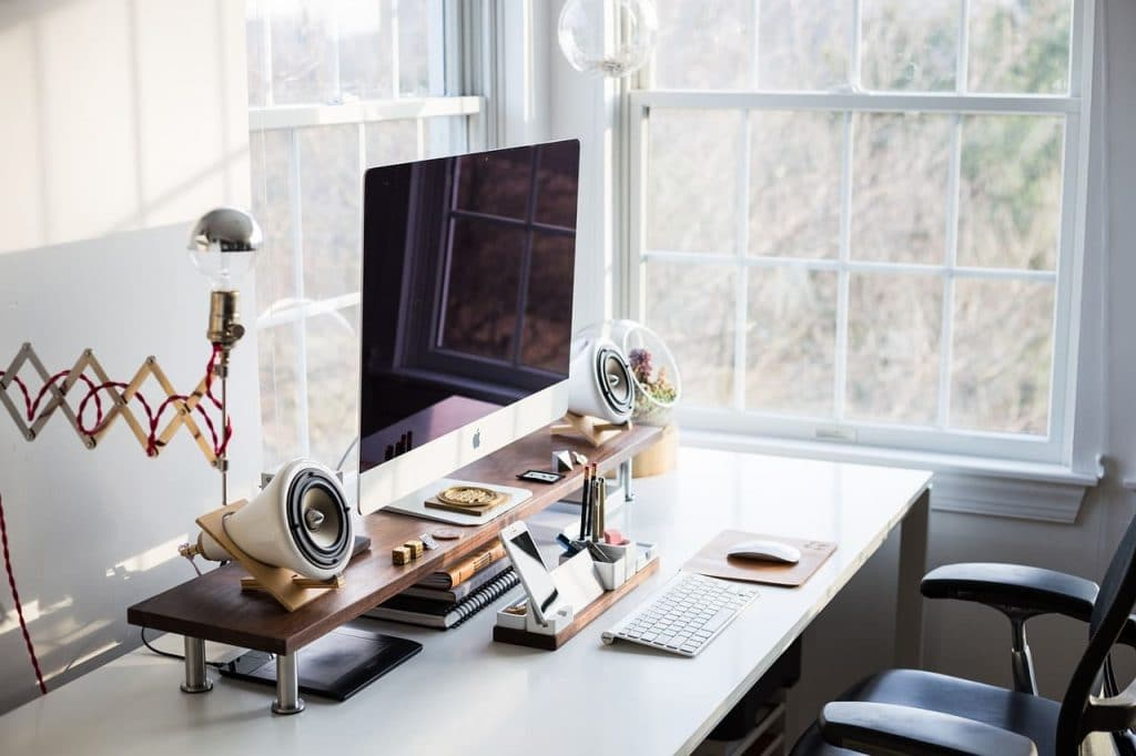 fancy computer desk with accessories