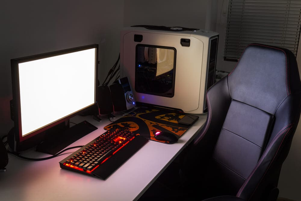 gaming setup with gaming chair
