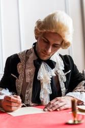 history of standing desk man writing